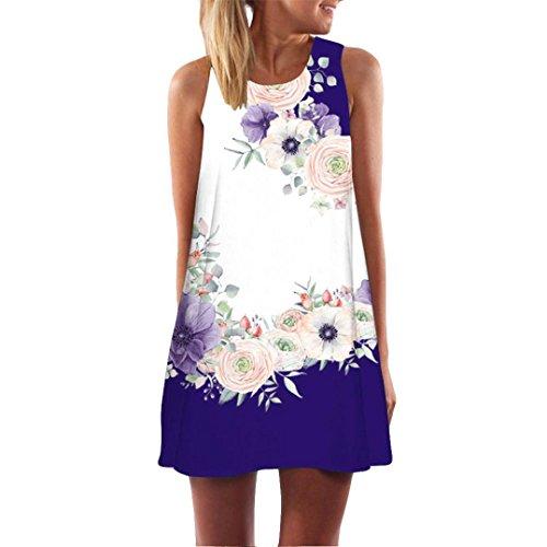 VESNIBA 2019 Womens Loose Summer Sleeveless Floral Print Tank Short Mini Dress