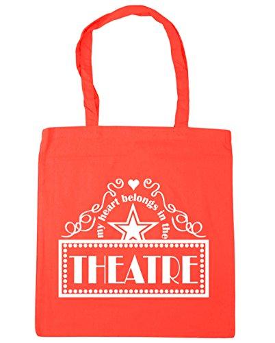 HippoWarehouse mi corazón pertenece en el teatro Tote Compras Bolsa de playa 42cm x38cm, 10litros Coral