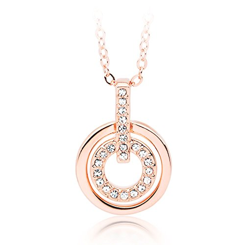 b7c6339c4 My Jewellery Story MYJS Circle Rhodium Plated Classic Pendant Necklace with  Clear Swarovski Crystals, 17