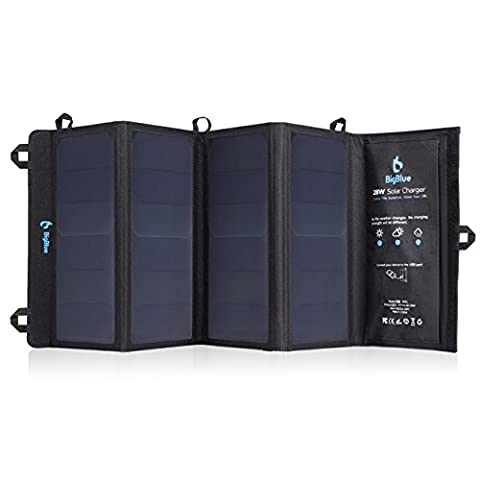BigBlue 5V 28W Foldable Outdoor Solar Powered Charger With SunPower Solar Panels 3 USB Ports for iPhone iPad Samsung Galaxy LG Cellphones Devices