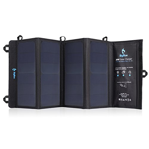 BigBlue 5V 28W Foldable Outdoor Solar Powered Charger With SunPower Solar Panels Dual USB Ports for iPhone iPad Samsung Galaxy LG Cellphones Devices BigBlue Solar Power And Accessories