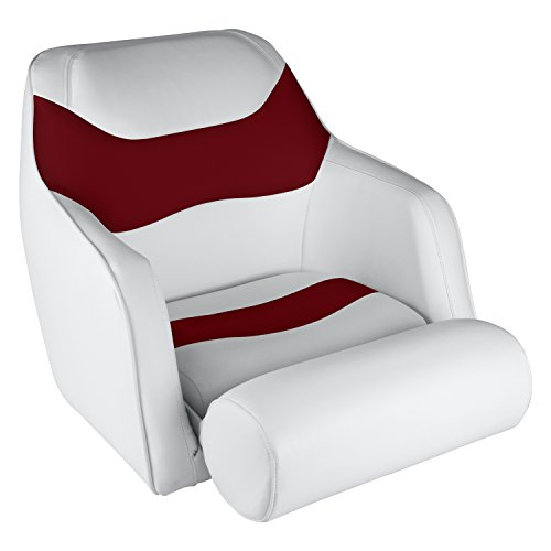 (Wise 8WD1205-0032 Standard Bucket Seat with Flip-Up Bolster, White/Red)