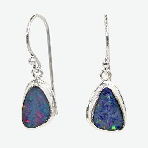 Sterling Australian Opal Doublet - Handmade 925 sterling silver drop AAA fire doublet opal earrings, silver earring, natural opal earrings, Australian opal earrings, 15 mm drop length