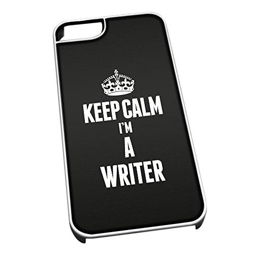 Bianco cover per iPhone 5/5S 2718nero Keep Calm I m A WRITER