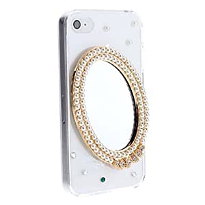 Diamond Look 3D Pearl Frame Mirror Pattern Transparent PC Hard Case for iPhone 4/4S