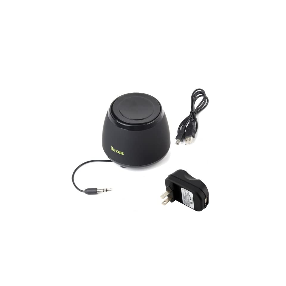 iKross Mini Portable Wireless Bluetooth Stereo Speaker Sound System with LED for  Fire Phone; Apple iPhone 5S 5C 5 and more With USB Travel Charger Adapter