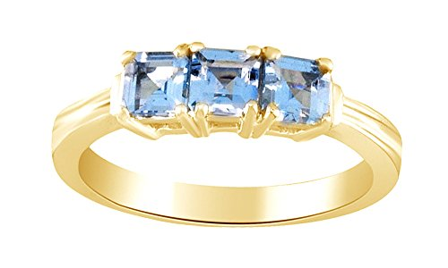 Square Aquamarine 3 Stone Ring - Jewel Zone US Square Cut Simulated Aquamarine Three Stone Ring in 14k Gold Over Sterling Silver (0.81 Cttw)