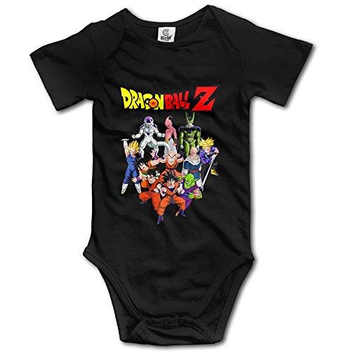 Kids Dragon Ball Z Baby Bodysuits Jumpsuit Unisex Boys Girls 100% Cotton 6 M Black (Baby Mulan)
