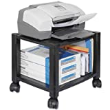 Mobile Printer Stand, Two-Shelf, 17w x 13-1/4d x 14-1/8h, Black, Sold as 1 Each