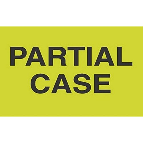 Generic DL2581 ''Partial Case'' Labels, 3'' x 5'', Fluorescent Green by Generic