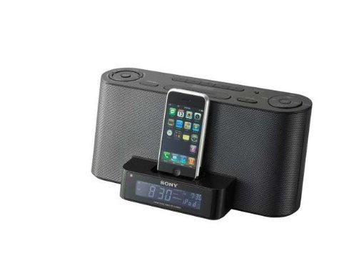 Sony Dream Machine Speaker Alarm Clock Radio Dock ICF-C1iPMK2, Black, Compatible with Apple iPhone/iPod