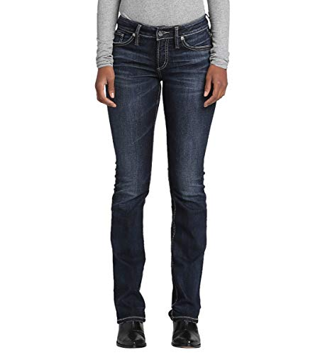 Silver Jeans Co. Women's Elyse Relaxed Mid-Rise Slim Bootcut, Power Stretch Dark Indigo - Stretch Bootcut Power Pant
