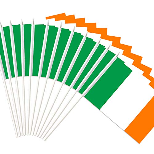 Anley Ireland Stick Flag, Irish National 5x8 inch Handheld Mini Flag with 12