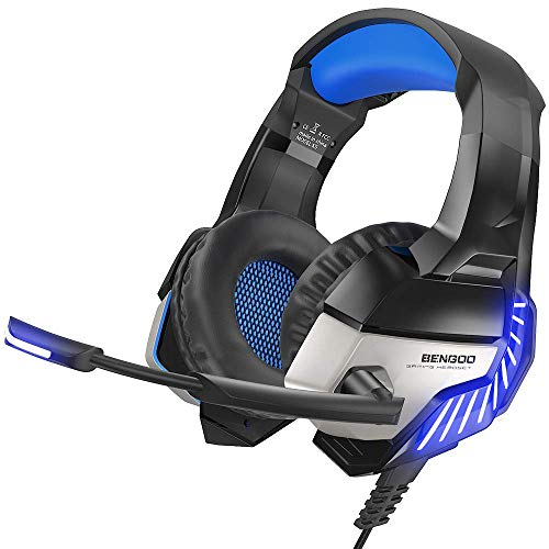 BENGOO K8 Gaming Headset for PS4, Xbox One, PC, Mac, Noise Cancelling Over Ear Headphones with Microphone, Bass Surround Stereo, LED Lights Game Headset for Laptop, Controller, Nintendo Switch Games]()