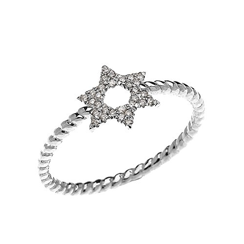 14k White Gold Dainty Diamond Star of David Stackable Ring (Size 6)