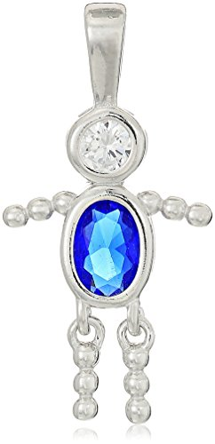 (Sterling Silver AAA Cubic Zirconia Simulated Birthstone Babies Boy Charm, September)
