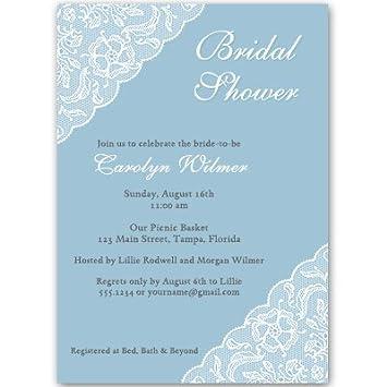 Amazon Bridal Shower Invitations Lace Blue Dusty Blue