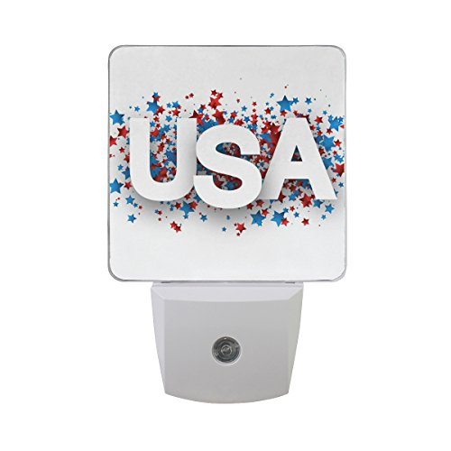 Naanle Set of 2 USA Independence Day Colorful Stars Paper Design Fourth Of July Patriotic Sign Auto Sensor LED Dusk To Dawn Night Light Plug In Indoor for Adults For Sale