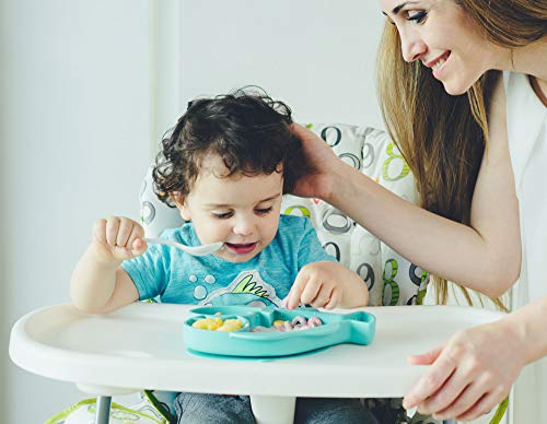 HEXATAL Non Slip Silicone Suction Plate/Bowl for Feeding Babies, Toddlers and Kids - Fits Almost All Highchair Trays (Cyan-Mini)
