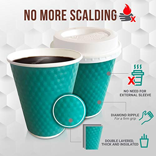ed678fd1705 Disposable Coffee & Hot Drink Cups With Lids, Straws & Stirrers | 50 Pack  Of 12 oz Highly Insulated Double Wall Sturdy Paper Cups, No Sleeve Needed  ...