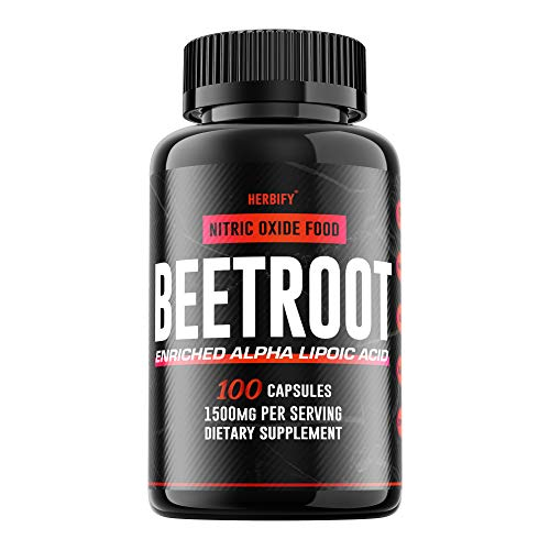 Beetroot Supplement, Beetroot Pills, Organic Beetroot and Black Pepper Blend, Beetroot Capsules, Boost Stamina and Increases Energy, Nitric Oxide Supplement 1500mg (100)