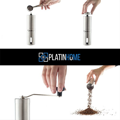 Stainless Steel Manual Coffee Grinder W/Ceramic Burr for Perfect Coffee Every Time - Quiet and Easy to Use, Perfect for Travel/Home - W/FREE Brush, Spoon, Pouch and E-book by PlatinHome by PlatinHome (Image #1)