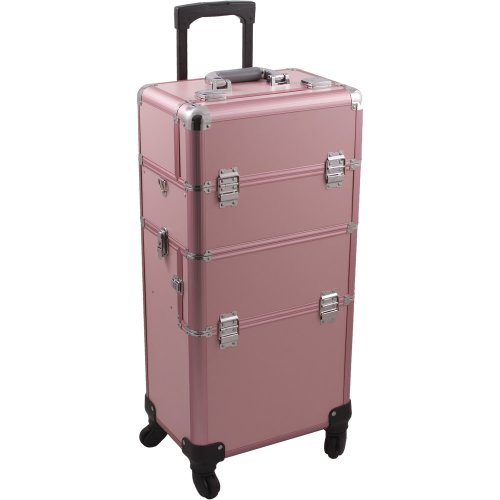 HIKER Makeup Rolling Case HK6501 2 in 1 Hair Stylist Orgainzer, 3 Slide and 1 Removable Tray, 4 Wheel Spinner, Locking with Mirror, Extra Lid and Shoulder Strap, Pink Matte