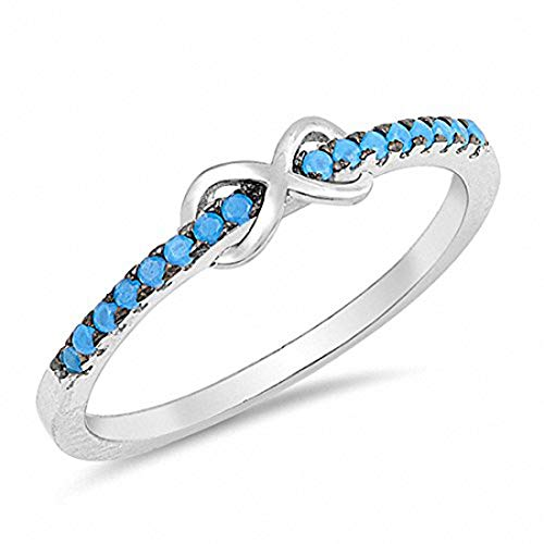 Blue Apple Co. Petite Dainty Infinity Ring Round Simulated Nano Turquoise 925 Sterling Silver, Size-9
