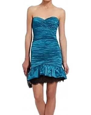 BCBG Max Azria Women's Sheath Ruched Fleur Dress Blue 0