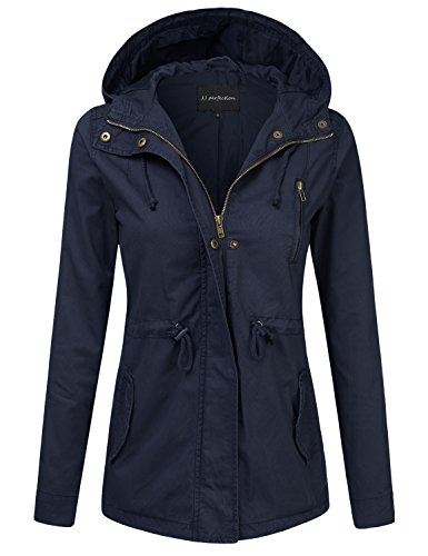 JJ Perfection Women's Casual Lightweight Cotton Anorak Army Utility Jacket NAVY L