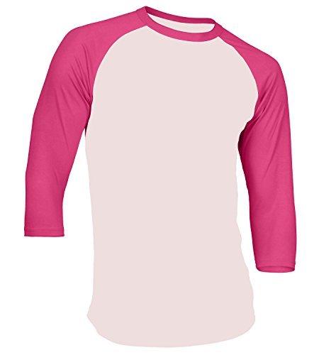 (Men's Plain Athletic 3/4 Sleeve Baseball Raglan Shirt, White/Pink, Large)