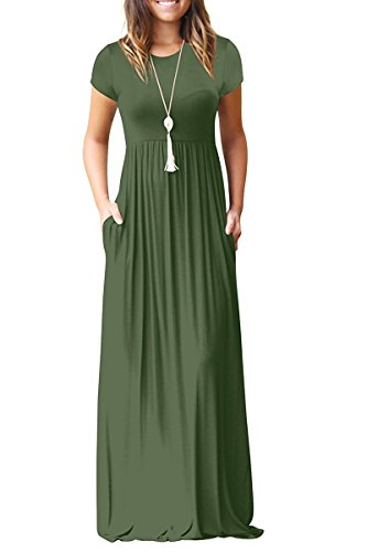 LERUCCI Women's Short Sleeve Solid Casual Ruched Long Maxi Dress Party Dress with Pockets Plus Size Army Green Medium