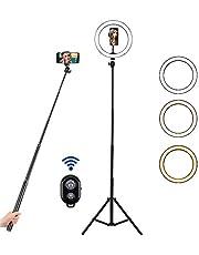 """BLOOMWIN Luce ad Anello 10"""" con Treppiedi Regolabile LED Luce Anulare Dimmerabile con Telecomando 3 Modalità 10 Livelli di Luminosità 12W USB per Youtube Selfie Video Trucco"""
