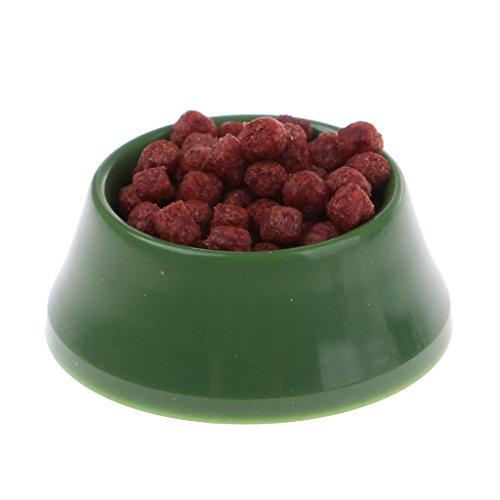 MagiDeal 1:12 Dollhouse Miniature Dog Food On Bowl Green
