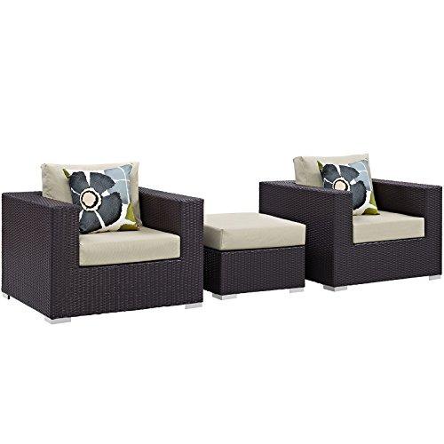 Modway Convene Wicker Rattan 3-Piece Outdoor Patio Furniture Set in Espresso (Cottage Wicker Furniture)