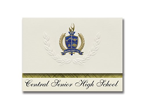 Signature Announcements Central Senior High School (Norwood Young America, MN) Graduation Announcements, Presidential Elite Pack 25 with Gold & Blue Metallic Foil seal -