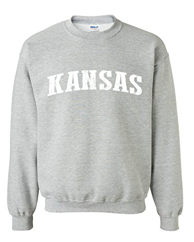 Ugo KS Kansas Map Wichita Topeka Flag Jayhawks Home Kansas University KU Unisex Crewneck Sweatshirt (Kansas Ks Printed Poster)