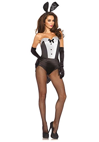 (Leg Avenue Women's 3 Piece Classic Bunny Costume, Black/White, Medium)