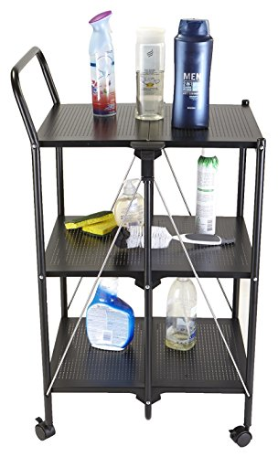 Mind Reader 3 Tier Metal Shelf Fold-able All Purpose Utility Cart, Black by Mind Reader