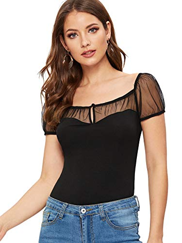 Verdusa Women's Keyhole Front Sheer Mesh Square Neck Short Sleeve Top Black S