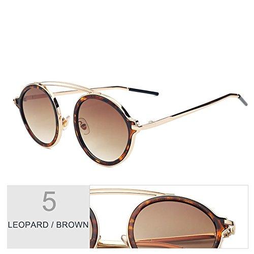 La Leopard TIANLIANG04 Para Mujer Placa Sol Color Espejo Moda Leopard Gafas La Brown De La La Trasera Brown Gafas Hermoso Gafas De De De De Parte Ronda Cpwqrp4x0
