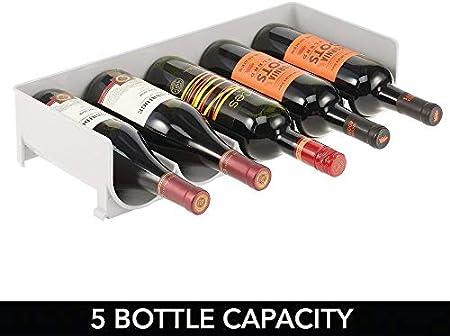 mDesign Botellero apilable – Práctico Estante para Vino en plástico para hasta 5 Botellas – Manejable Mueble vinoteca para Botellas de Vino y Otras Bebidas – Gris Claro