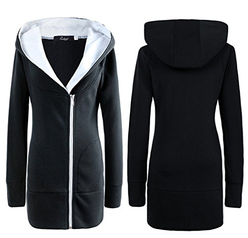 con Cremallera de Suéter de TM XueXian de Suéter Párrafo de Chaqueta de Largo Mujer Negro Capucha Ocio qRFI0xgw
