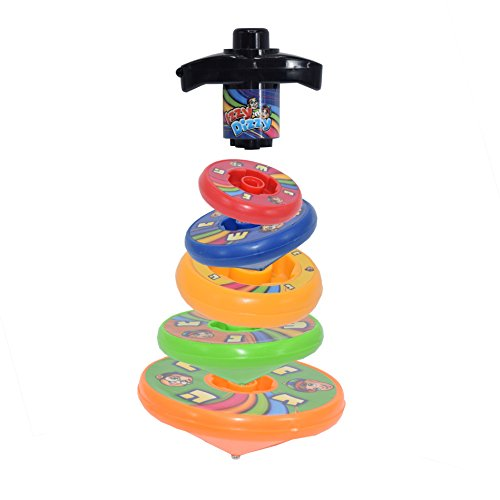 5 Layer Stackable Dreidel - Wind and Release, Spin Individually or On Top of Each Other - Hanukah Toys, Games by Izzy 'n' Dizzy