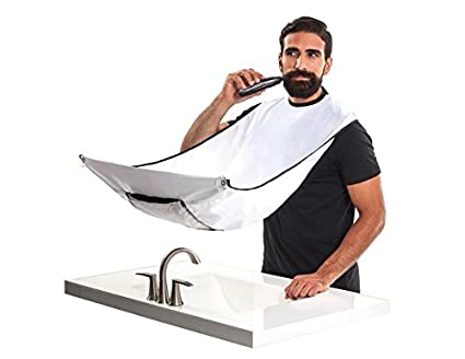 Beard Bib With Buggy Bag - Hair Clippings Catcher & Grooming Cape Apron & Beard Trimming Apron,Perfect Gift For Bearded Men (Black) Linkin Tech
