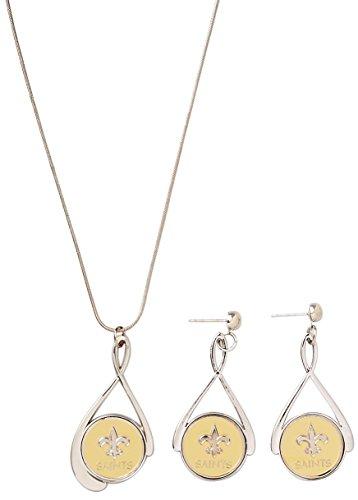 Primary Logo Earrings (Siskiyou NFL New Orleans Saints Tear Drop Necklace & Earrings Set)