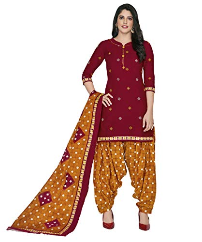 Miraan Women's Cotton Unstitched Dress Material (SGPRI418, Red, Free Size)