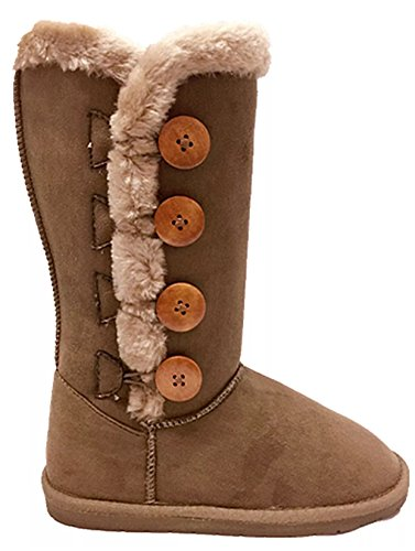 Women's Fur Mid-Calf 4 Buttons Faux Soft Snow Winter Flat Boot Shoes New 02 Chestnut
