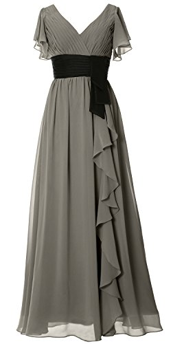 MACloth Women V Neck Short Sleeve Long Bridesmaid Dress Mother Formal Party Gown (16, Pewter) (80s Womens Fancy Dress)
