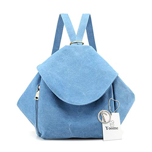 Satchel Canvas Three Purse Uses Bags and Hobo Handbags Women Backpack Style Lake for Shoulder Blue Yoome 540nwqaAd5